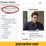 Charlie SheenFrom Wikipedia, the free encydoperfta1 Early Me2 Career3 Political views and activities3 1 Charitable activities 32 September 11 attacks4 Personal Me5 Awards and honors6 Filmography6 1 Films 62 Short films 6 3 Television7 References8 External InksflCharlie SheenSheen r March 2009
