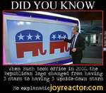 """DID YOU KNOWWhen Bush took office in 2000, the Republican logo changed from having 3 stars to having 3 upside-down starsNo explanation was ever given""""T/ /Wafeen the mind."""