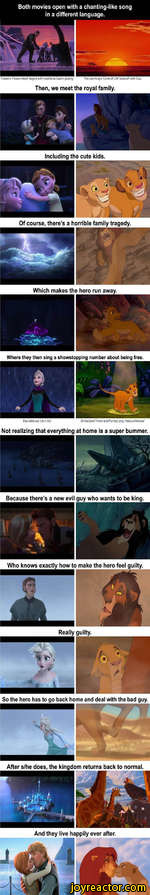 a chanting language.Of course, theres a horrible family tragedy.Which makes the hero run away.Where they then sing a showstopping number about being freeElsa belts out let it Go*Not realizing that everythingBecause theres a new evil guy who wants to be king.tl * i** aWho knows exactly how to