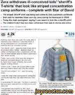 Zara withdraws ill-conceived kids' 'sheriffs T-shirts' that look like striped concentration camp uniforms - complete with Star of David The striped 'Sheriff shirt was being sold online to Zara customers worldwide Shirt said to resemble those worn by Jews during the Holocaust in WWII Today the chain