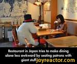 Restaurant in Japan tries to make dining alone less awkward by seating patrons with giant stuffed animals...