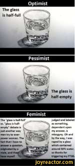 "OptimistThe glass is half-fullPessimistThe glass is half-emptyFeministThe ""glass is half-full"" vs. ""glass is half-empty"" debate is just another way men try to overpower women. The fact that I have to answer a question, originated by a male, and have myselfjudged and labeled as something, dependent"