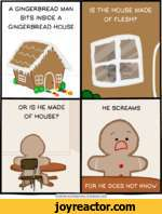 A GINGERBREAD MAN SITS INSIDE A GINGERBREAD HOUSEOR IS HE MADE OF HOUSE?IS THE HOUSE MADE OF FLESH?HE SCREAMSFOR HE DOES NOT KNOWCyanide and Happiness  Explosm.net f