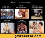 When I go to the gym:What myWhatWhat my gymfriends think:my mom thinks: instructor thinks: