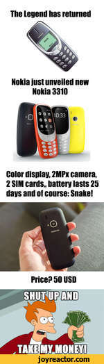 The Legend has returnedNokia just unveiled new Nokia 3310Color display, 2MPx camera, 2 SIM cards,, battery lasts 25 days and of course: Snake!