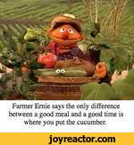 Farmer Ernie says the only difference between a good meal and a good time is where you put the cucumber.