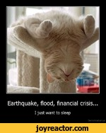 Earthquake, flood, financial crisis...I just want to sleepDemotivation.