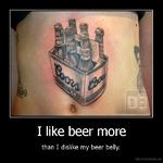 I like beer morethan I dislike my beer belly.De motivation, us
