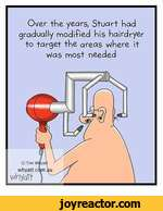 Over the years, Stuart had gradually modified his hairdryer to target the areas where it Was most needed
