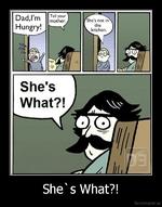 She's What?!De motivation, us