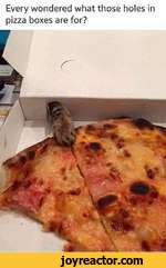 "Every wondered what those holes in pizza boxes are for?""/V"