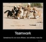 TeamworkSometimes it's not more efficient, but definitely more funDe motivation, us