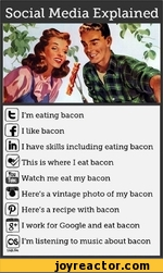 I'm eating bacon a I like baconI have skills including eating bacon This is where I eat bacong Watch me eat my bacon B Here's a vintage photo of my bacon Here's a recipe with bacon I work for Google and eat bacon ,C6 I'm listening to music about baconIcvst.-frn