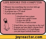 LIFE BEFORE THE COMPUTER * Memory was something that you lost with age * An application was for employment * A program was a TV show * A cursor used profanity * A keyboard was a piano * A web was a spider's home * A virus was the flu * A CD was a bank account * A