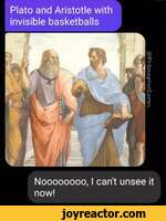 Plato and Aristotle with invisible basketballs