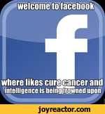 welcome to facebook where likes cureicancer and. intelligence is being frowned upon