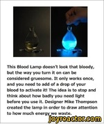 this blood lamp doesn't look that bloody bu the way ou turn it on can be considerd gruesome