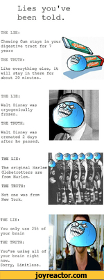 Lies you've been told.THE LIE:Chewing Gum stays in your digestive tract for 7 yearsTHE TRUTH:Like everything else, it will stay in there for about 20 minutes.THE LIE:Walt Disney was cryogenically frozen.THE TRUTH:Walt Disney was cremated 2 days after he passed.THE LIE:The original Harlem