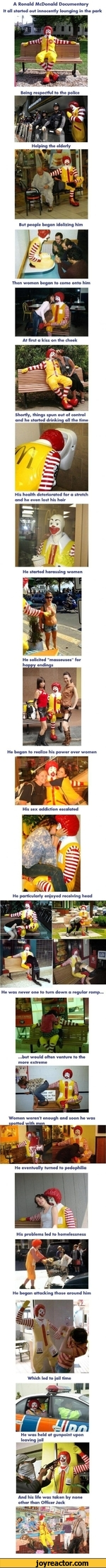 A Ronald McDonald Documentary It all started out innocently lounging in the parkBeing respectful to the policeHelping the elderlyBut people began idolizing himThen women began to come onto himAt first a kiss on the cheekShortly, things spun out of control and he started drinking all the timeHis