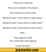 "There were 3 blondes They were stranded in the desert Then they found some tracks Blonde #1 said "" I think they're rabbit tracks ""VhAABlonde #2 said "" I think they're snake tracks ""VhAABlonde #3 said "" I think they're lizard tracks ""VW1Well...They argued a while then while they were arguingA train"