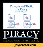 Piracy is not Theft, It's Piracy (a handy little guide) Theft: Piracy: Theft REMOVES the Original. Piracy make a COPY.