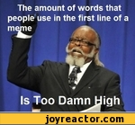 The amount of words that people use in the first line of a meme