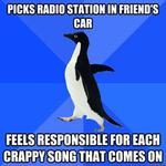 picks radio station in friend's car