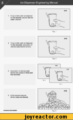 Ice Dispenser Engineering Manual1.If cup is held under ice dispenser for one second, assume one ice cube is desired.2.If cup is held under ice dispenser for two seconds, assumption of one ice cube desired remains.3.Assumption of one ice cube desired also applies to three and four seconds.4.At five