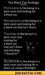 "The Black Cat Analogy{Versten 2}Philosophy is like being in a dark room and looking for a black cat.Metaphysics is like being in a dark room and looking for a black cat that isn't there.Theology is like being in a dark room and looking for a black catthat isn't there v, ^ and shouting ""I found"