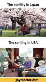 The senility in JapanThe senility in USA