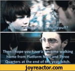BWrDa cteyh at4iHm irrHufflepuff?Then I hope you have a m time walking home from Platform Nme and Three Quarters at the end of tire year, bitch.